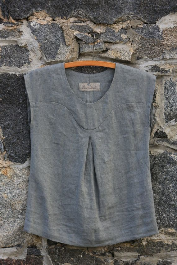 Linen blouse. Linen top / Natural linen blouse / by LinenCloud