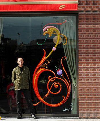 Fileteado Porteño de Alfredo Genovese en tienda NIKE de Argentina.