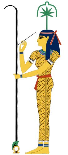 In Egyptian mythology, Seshat (also spelled Safkhet, Sesat, Seshet, Sesheta, and Seshata) was the Ancient Egyptian goddess of wisdom, knowledge, and writing. She was seen as a scribe and record keeper, and her name means she who scrivens (i.e. she who is the scribe), and is credited with inventing writing.