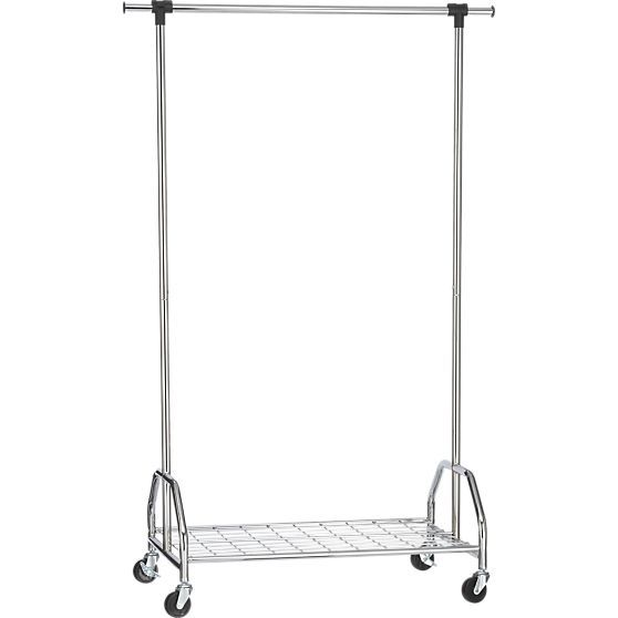 Extra Large Rolling Clothes Rack in Closet | Crate and Barrel