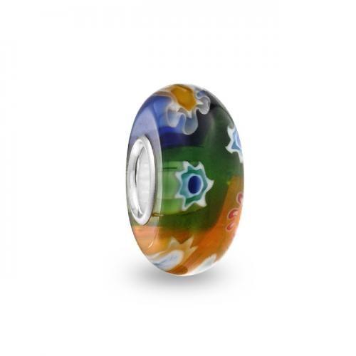Multi Color Milefiori Flower Murano Glass Bead 925 Sterling Silver