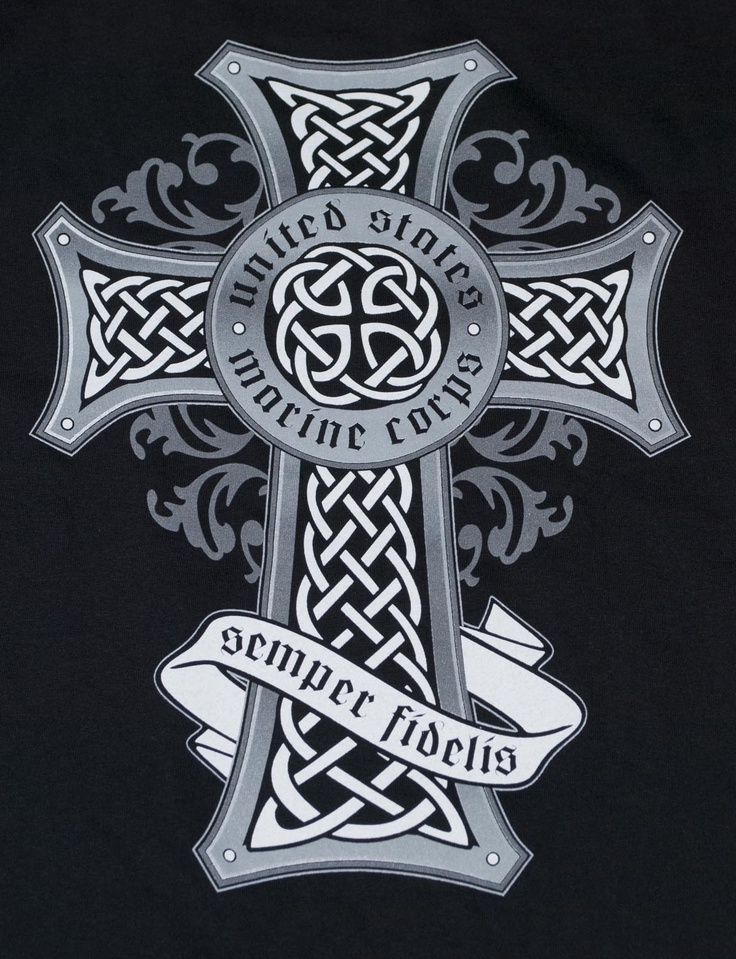 Marine Corps Celtic Cross Black t-shirt | Sgt Grit - Marine Corps Store