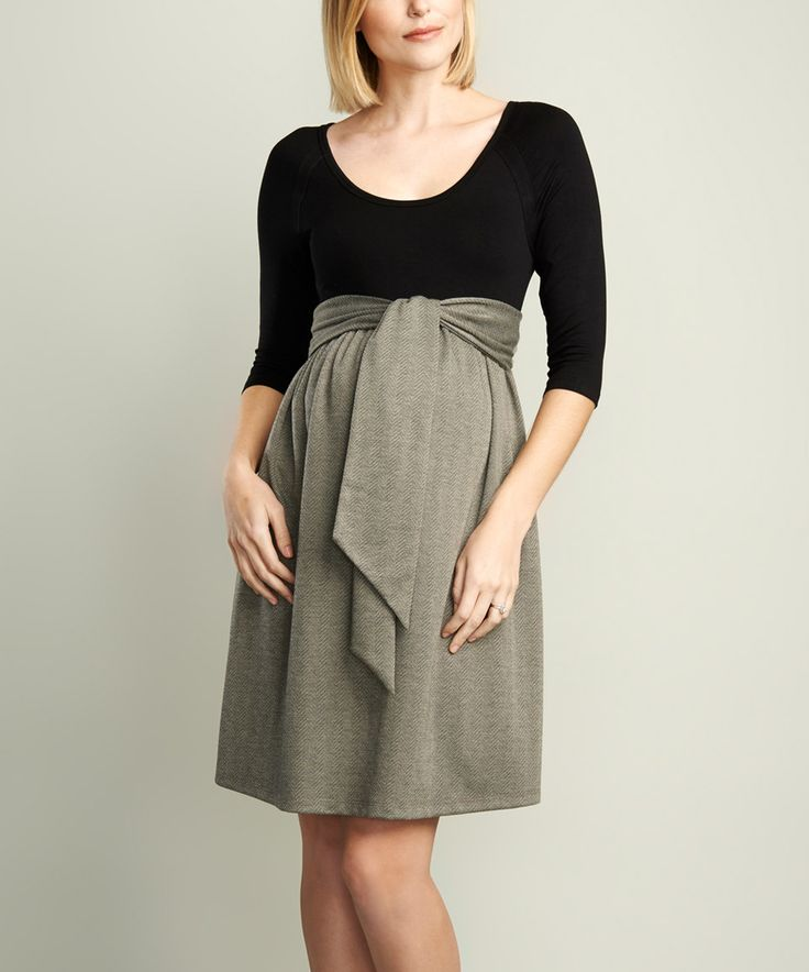 Another great find on #zulily! Black & Herringbone Tie-Front Maternity Fit & Flare Dress by Maternal America #zulilyfinds