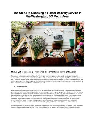 The Guide to Choosing a Flower Delivery Service in the Washington, DC Metro Area