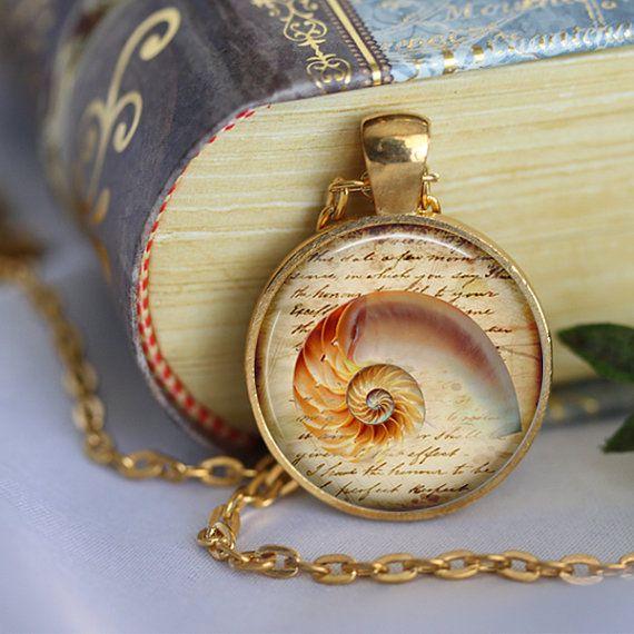 SEA SHELL Necklace Pendant Vintage Shell by LiteraryArtPrints