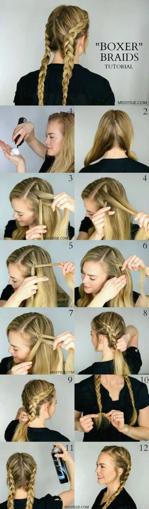 """Boxer braids are everything. They are currently the """"it"""" hairstyle and blowing up on Instagram. If you haven't mastered them yet then now is your chance! This hairstyleis quick and easy and not only perfect for every day but an awesome heat-less style and great for the gym too! Plus, if you leave them in overnight you will have gorgeous mermaid waves the next morning too. For this tutorial, I will show you a great way to prep the hair, especially for those gorgeous mermaid tresses, and keep…"""