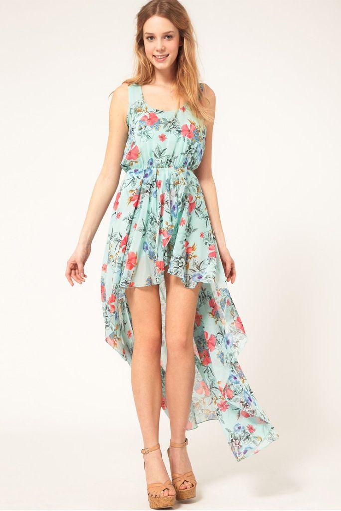Floral Chiffon Asymmetrical Dress.