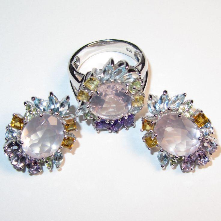 Купить Серьги и кольцо с розовым кварцем серебряные - бледно-розовый, розовый кварц, серебро925
