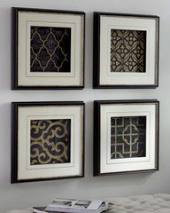 Frames with scrapbook paper.