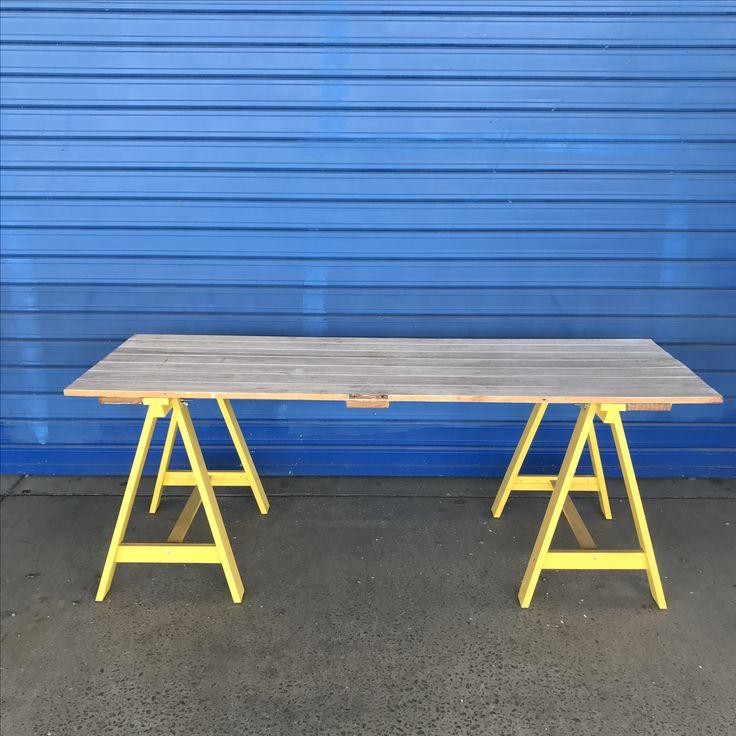 Handmade trestle table from reclaimed materials otoandlars.com