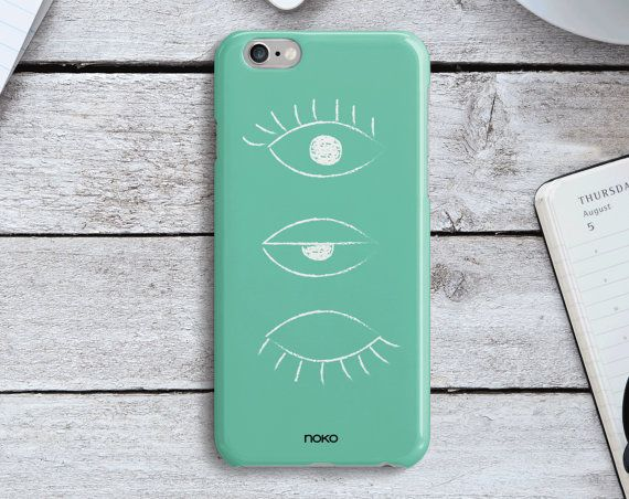 DESCRIPTION: NOKO Mint Hand drawn eyes iPhone 6/6S & Plus Case  Designed in Italy - Made in USA  The case is made of transparent polycarbonate