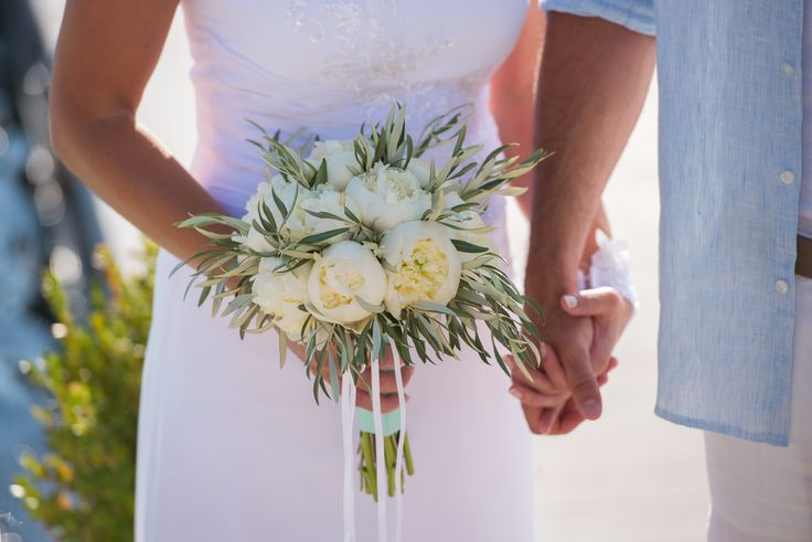 White peonies and olive bride bouquet for August wedding in Lefkada Greece by @Lefkas