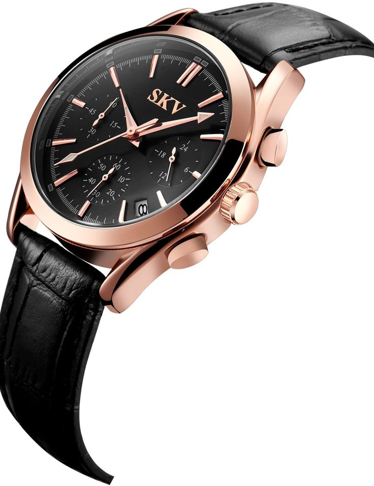 Sisistore Mens Wrist Watch with High Abrasion Proof and Leather Band Luminous Watch Rose Gold