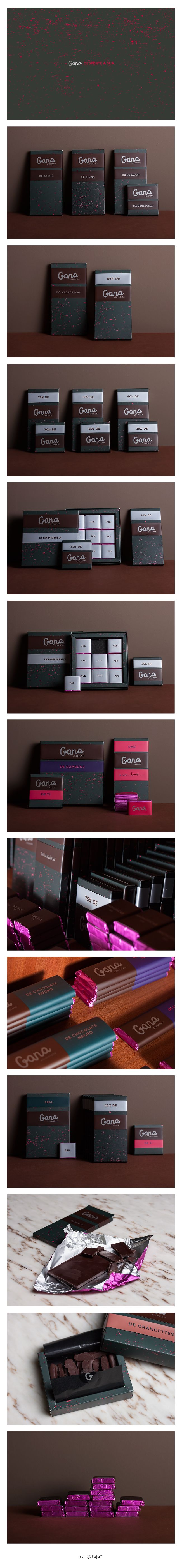Gana Chocolate was a very challenging project. We had to create a whole new identity for an artisanal chocolate brand — the name, the slogan, the logo and the all graphic identity around it.   The whole packaging collection invokes a gut feeling around chocolate, as expressing a latent desire through its dark aspect with sprinkles of bright colour