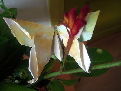 Origami: zet een zelfgevouwen vlinder in een boeket.