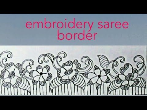 Simple Saree Border Drawing For Embroidery Work Saree Border