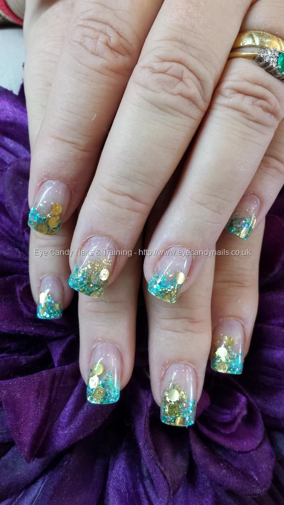 Teal Green And Gold Acrylic Glitter Fade Nails Pinterest Gold Glitter Teal Green And