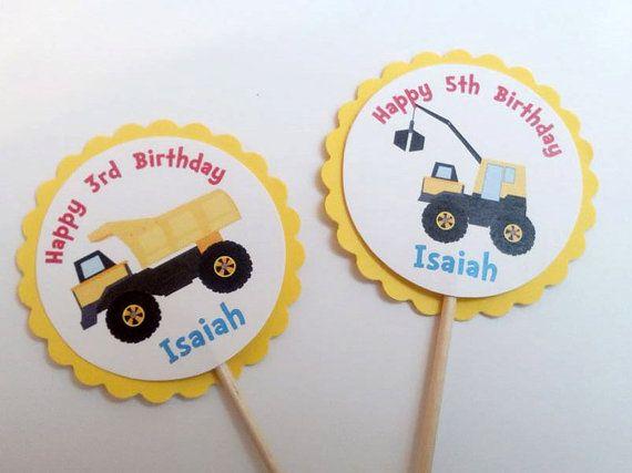 Construcción cumpleaños Cupcake Toppers - 24, carro de descarga, amarillo