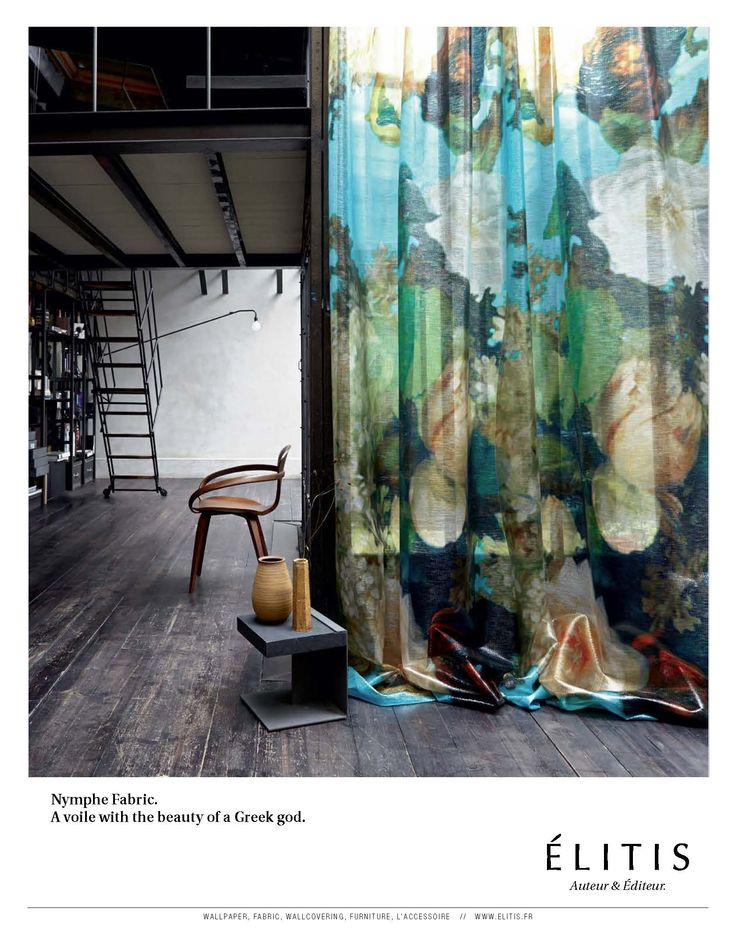 Nymphe fabric. A fire-retardant, innovative, technical weaving that comes in XXL designs.  #fabric, #XXL, #flowers, #elitis