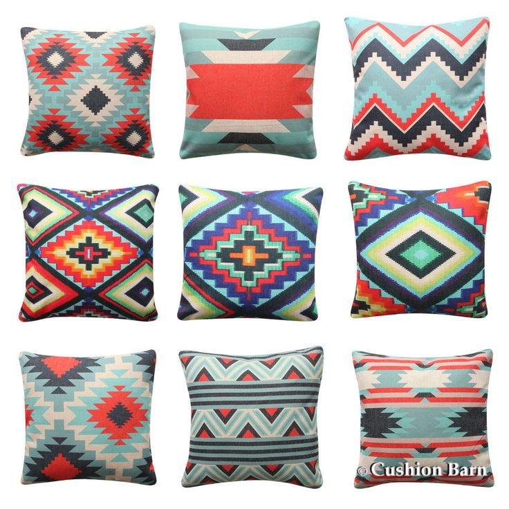 BOHO Tribal Cushion Cover Aztec Aqua Red Geometric Pillow Cover Sofa Cushion