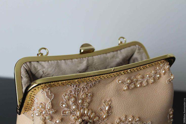 Купить Вечерняя сумочка, кожаная сумочка, вышитая сумка, клатч - сумочка вечерняя, сумочка с фермуаром