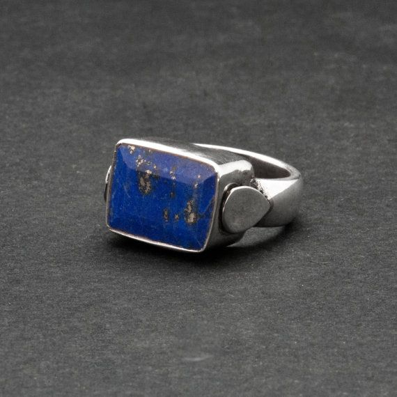 Square Lapis Lazuli Ring Blue Gemstone Sterling by SunSanJewelry