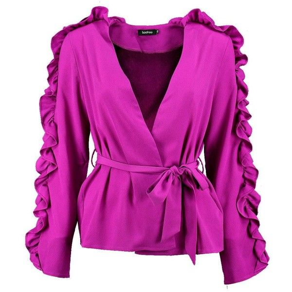 Boohoo Carmen Ruffle Sleeve Belted Blazer (58 AUD) ❤ liked on Polyvore featuring outerwear, jackets, purple blazer jacket, purple bomber jacket, bomber jackets, puff jacket and belted puffer jacket