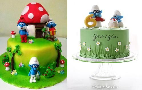 Smurfs-cakes-featuring-Brainy-Smurf-by-Giada-on-Cakes-Decor-left-and-Bake-A-Boo-right.jpg (498×319)