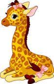 Girafe avec archet — Vecteur