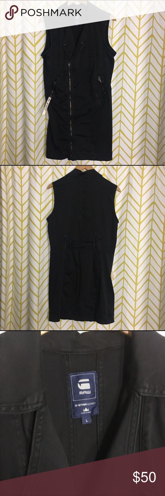 G STAR RAW black sleeveless zip dress Form fitting zip dress has a little give but not stretchy. Great for heels or sneakers. Lots of pockets g star Dresses Mini