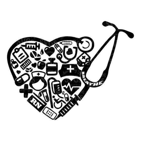 Svg rn collage stethoscope heart dxf nurse