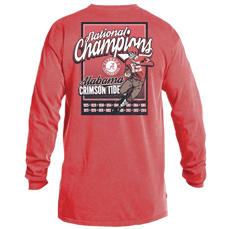 Alabama Crimson Tide College Football Playoff 2015 National Champions Comfort Colors Long Sleeve T-Shirt - Crimson - $28.49