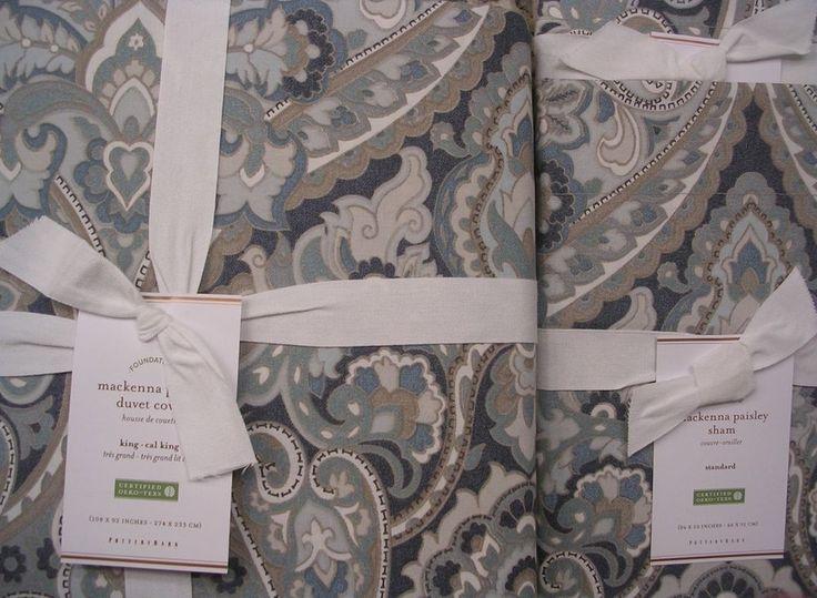 Pottery barn Маккенна пейсли короля пуховое одеяло и 2 стандартных наволочки ~ синий   Дом и сад, Спальня, Покрывала и наборы   eBay!