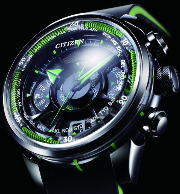 Citizen Satellite  Wave watch searches for the closest satellite in orbit, grabs the signal from it to set the time, day, and date with the atomic time.