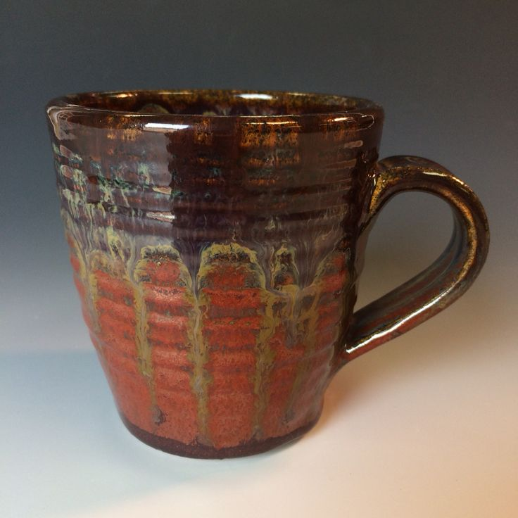 Stoneware mug with Amaco Potter's Choice glazes (Albany Brown Slip over Ancient Jasper) at cone 6. Eddy Efaw / Memphis, TN