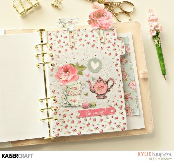 'High Tea' Planner set up [view E] with Kylie Kingham DT member for Kaisercraft Official Blog using their New April 2017 collection High Tea. This is her second Tabbed Divider. Learn more at kaisercraft.com.au/blog ~ Wendy Schultz ~ Planners and Pocket Books and Pocket Pages.