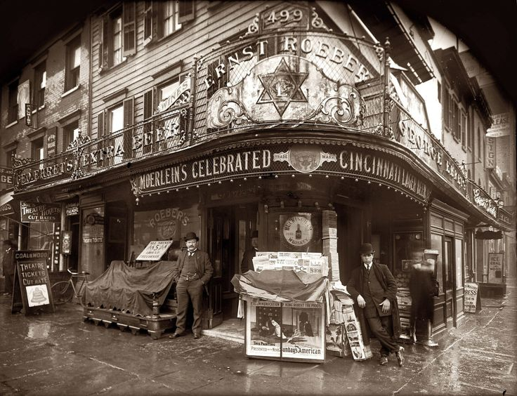 Roeber's Cafe: 1908 Advertising Cincinnati's famous Moerlein lager beer. On the left, champion wrestler and vaudeville impresario Ernst Roeber (1861-1944) and his Manhattan saloon at 499 Sixth Avenue...