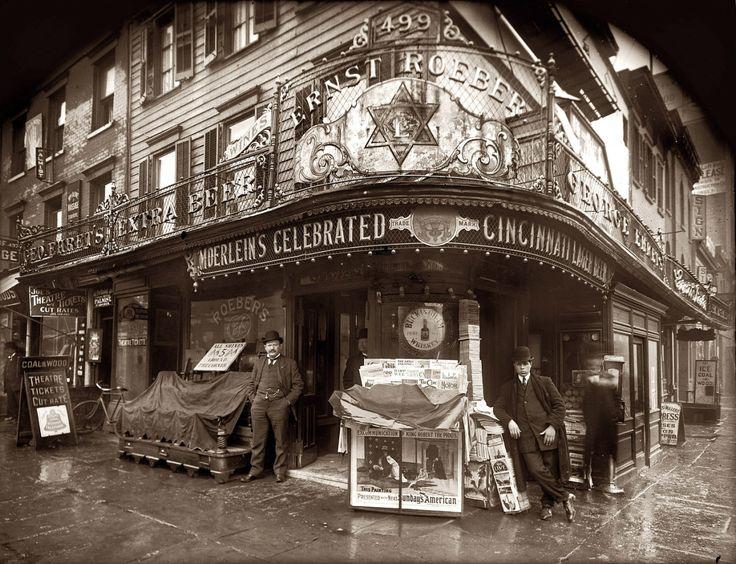 Roeber's Cafe: 1908 Advertising Cincinnati's famous Moerlein lager beer. On the left, champion wrestler and vaudeville impresario Ernst Roeber (1861-1944) and his Manhattan saloon at 499 Sixth Avenue...