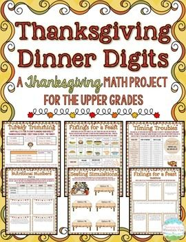 Thanksgiving Dinner Digits: A Thanksgiving Math Project! Thanksgiving will be here before you you know it, and this 8-page Thanksgiving Math Project is just what you need to keep your students engaged BEFORE and AFTER Thanksgiving!  Students will love planning their very own Thanksgiving dinner, timing things just right, picking out their side dishes, calculating nutritional information, buying just the right sized turkey, graphing class meals, arranging seats just right, and more!$
