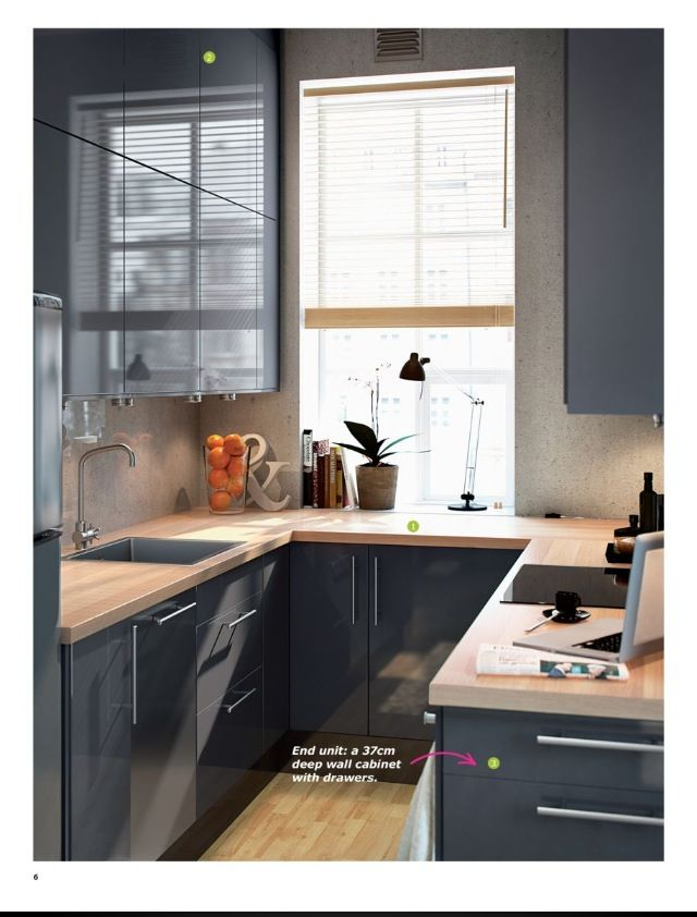 love the high gloss gray cabinets and light butcher block but not a fan of