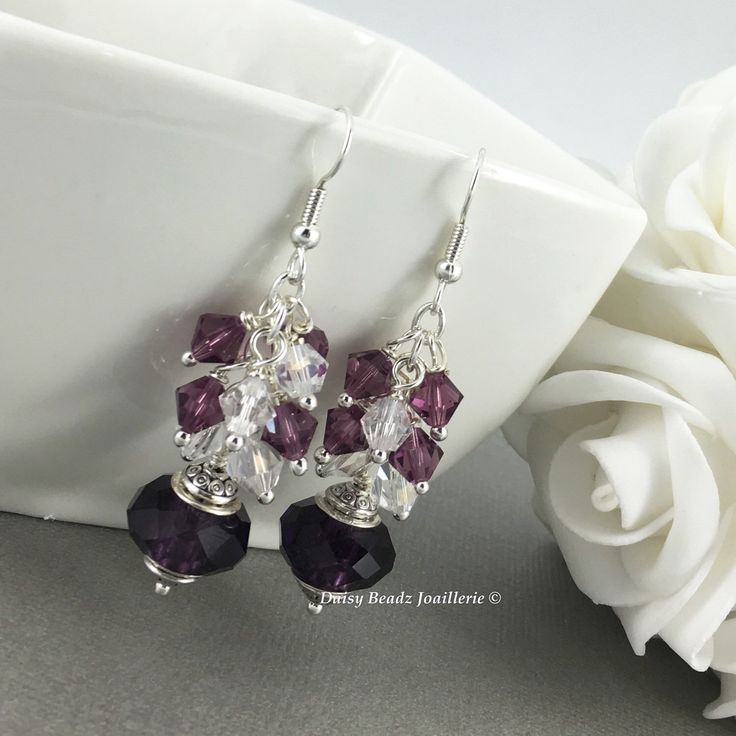 Amethyst Earrings, Bridesmaid Earrings, Crystal Earrings, Cluster Earrings, Bridesmaids Gifts, Chunky Earrings by DaisyBeadzJoaillerie on Etsy https://www.etsy.com/ca/listing/116973509/amethyst-earrings-bridesmaid-earrings