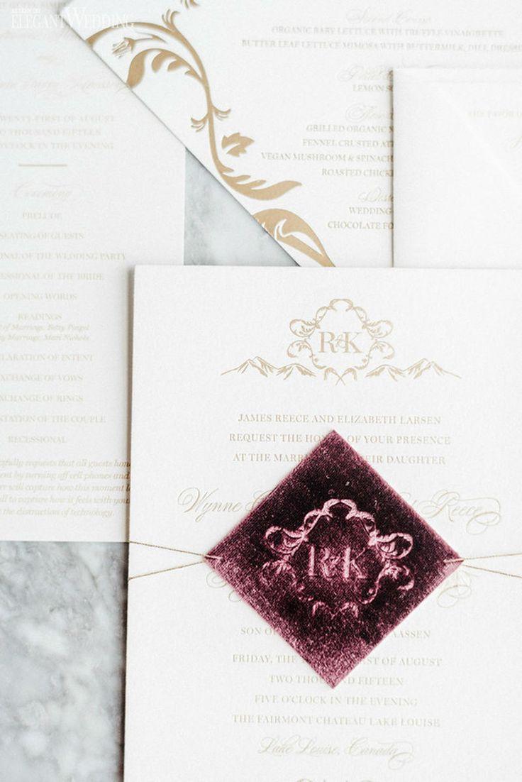 Velvet burgundy and gold wedding invitations and stationery! A BEAUTIFUL WEDDING IN BANFF & MINNESOTA www.elegantwedding.ca