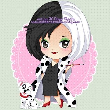 Cruella de vil chibi commission Base price $20 (price may vary depending on design)