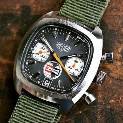Classic Heuer Chrono with Mil-Green NATO strap.   #finedetails