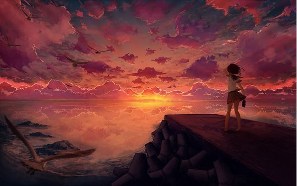 Animated Lonely Girl Wallpapers Red Sky At Night Illustration Graphicart Art Anime