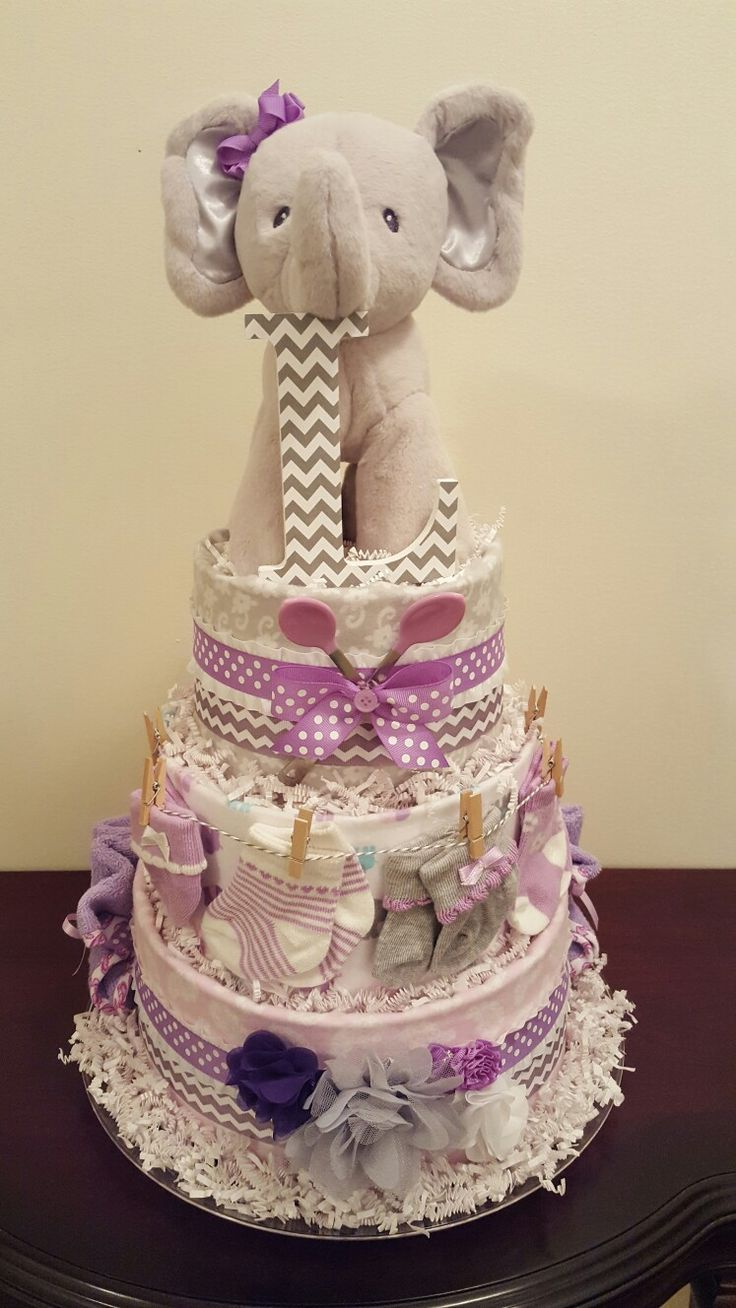 Purple and grey elephant diaper cake! It's a girl! Diaper cake designed by Kim Swinson-Simply Showers,  visit my Facebook page Simply Showers for more pics and orders.