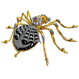Per-revolution, Russian imperial spider brooch with Onyx, sapphires and rubies.
