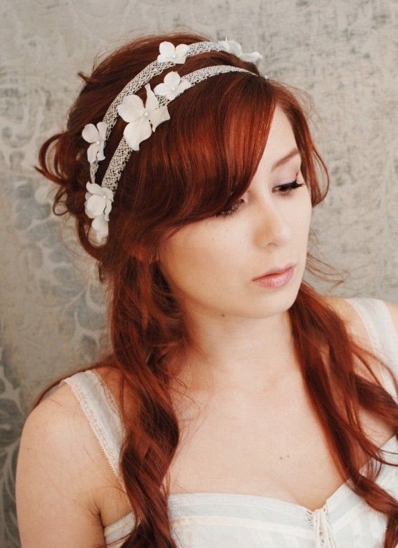 Wedding accessory floral hair band pale blue by gardensofwhimsy, $46.00