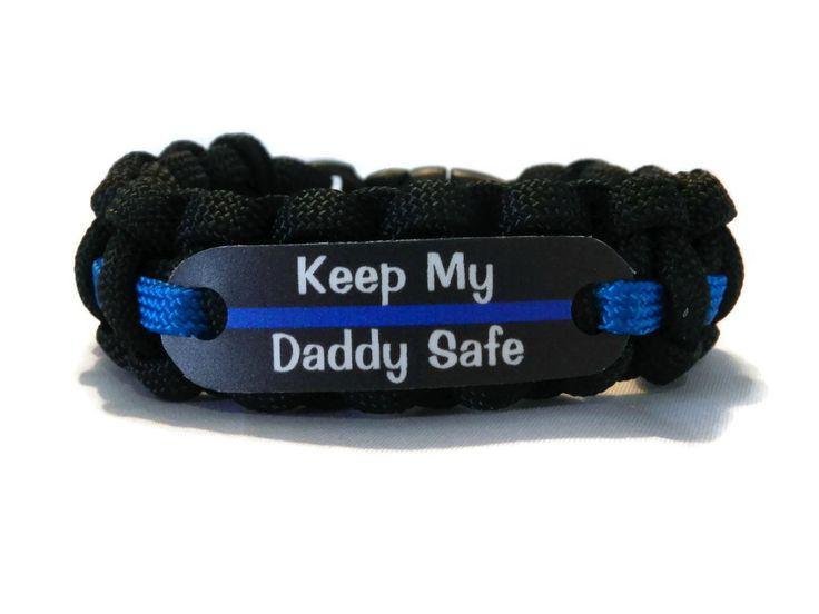 Keep my Daddy Safe Thin Blue Line Bracelet for Police Officers Kids