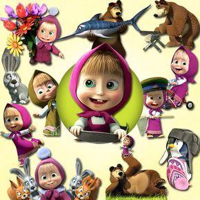 Masha and The Bear clipart PNG 300 dpi Disney Clipart Invitation Clip Art